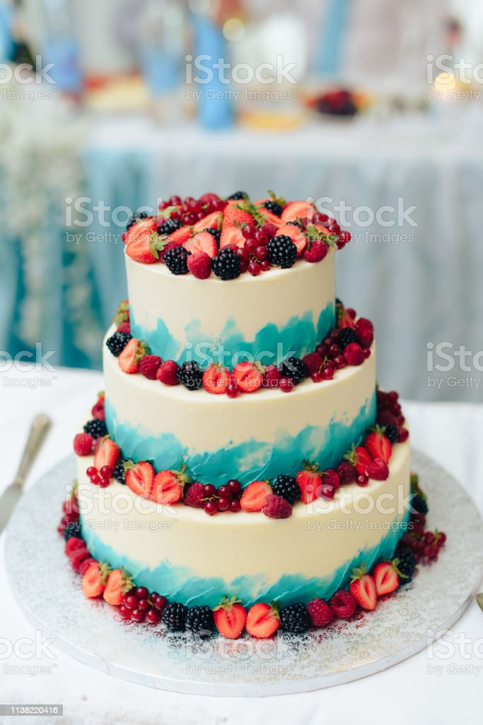 Astounding Beautiful Huge Wedding Cake With Flowers And Fruits Stock Photo Funny Birthday Cards Online Alyptdamsfinfo