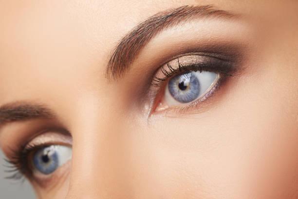 beautiful human eyes close-up. young woman blue eyes macro shoot. macro closeup eye - eyelid stock pictures, royalty-free photos & images