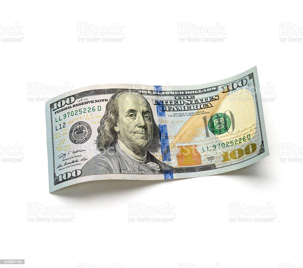 beautiful hundred-dollar bill on white background stock photo