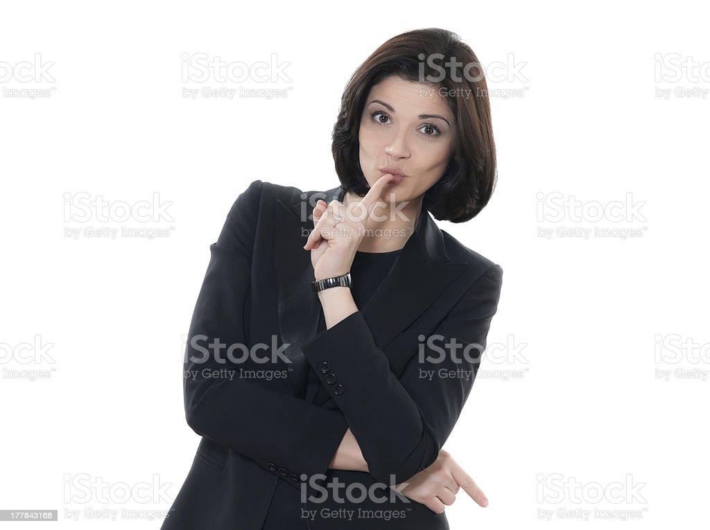 beautiful hushing  caucasian woman portrait royalty-free stock photo
