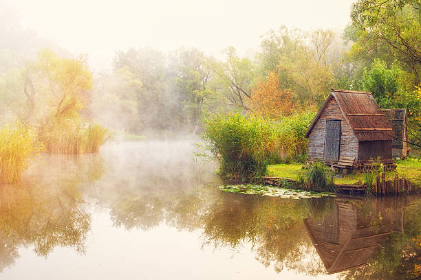 Beautiful hut on the shore of pond engulfed in fog stock photo