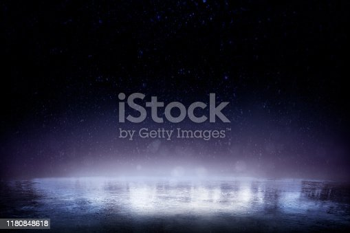 istock Beautiful ice background. Realistic ice and snow on dark background 1180848618