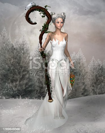 Fantasy bride fairy dressed in white in a winter landscape – 3D render