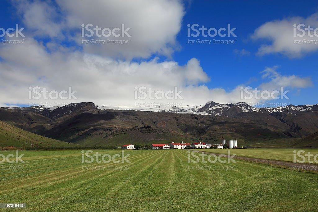 Beautiful Iceland island farm and volcano stock photo