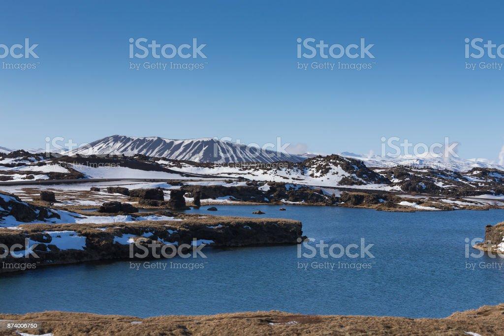 Beautiful Iceland winter mountain volcano stock photo