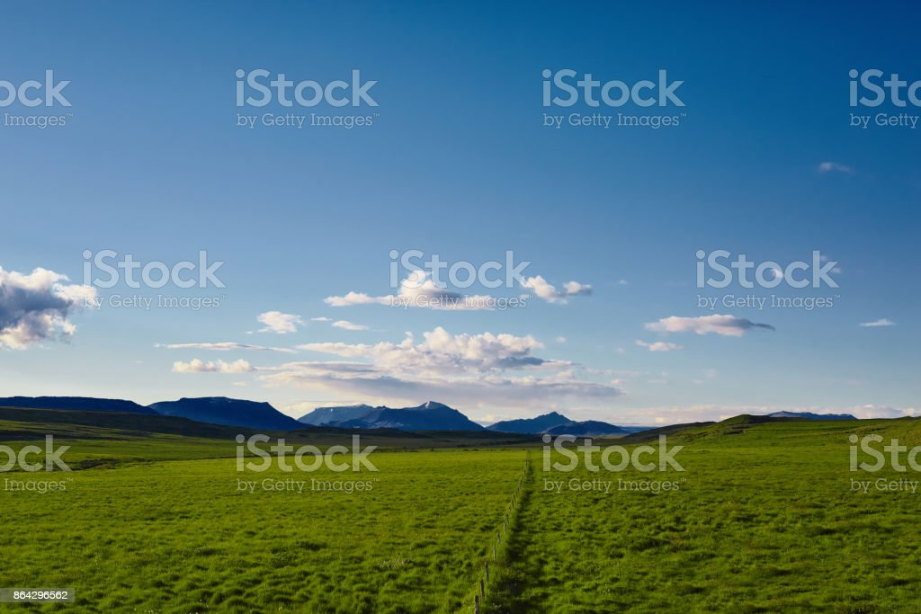Beautiful Icelandic landscape with green fields mountains, sky and clouds royalty-free stock photo
