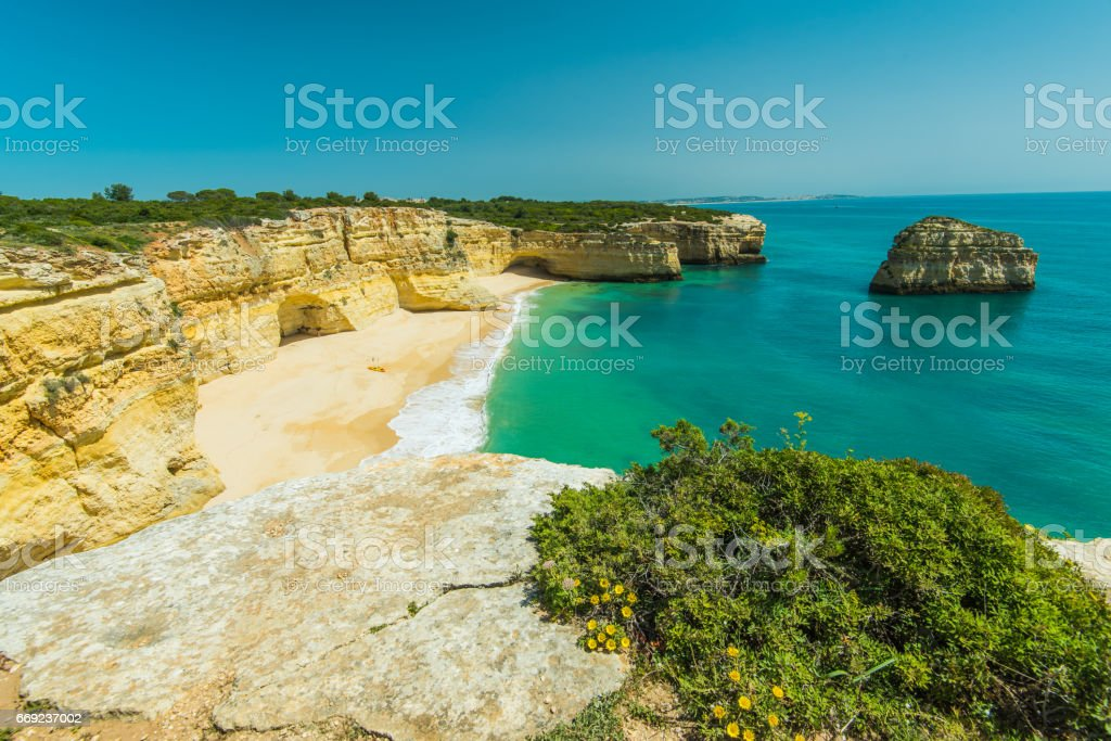 Beautiful idyllic sandy beach and turquoise water in Algarve,Portugal stock photo