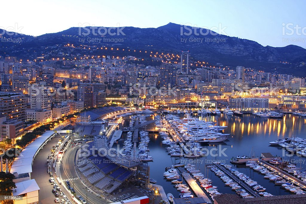 A beautiful image of Monaco in the evening stock photo
