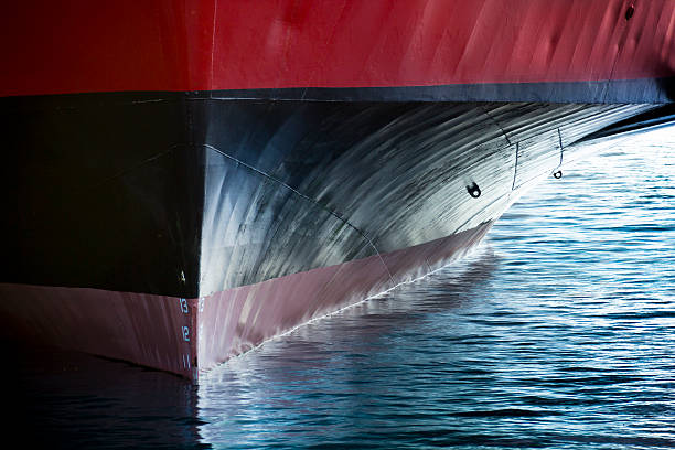 beautiful image showing the bow of a large ship - hull stock pictures, royalty-free photos & images