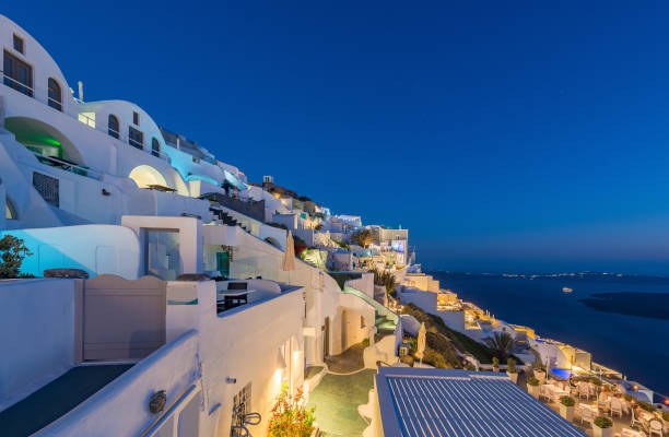 Beautiful Imerovligli village at night stock photo