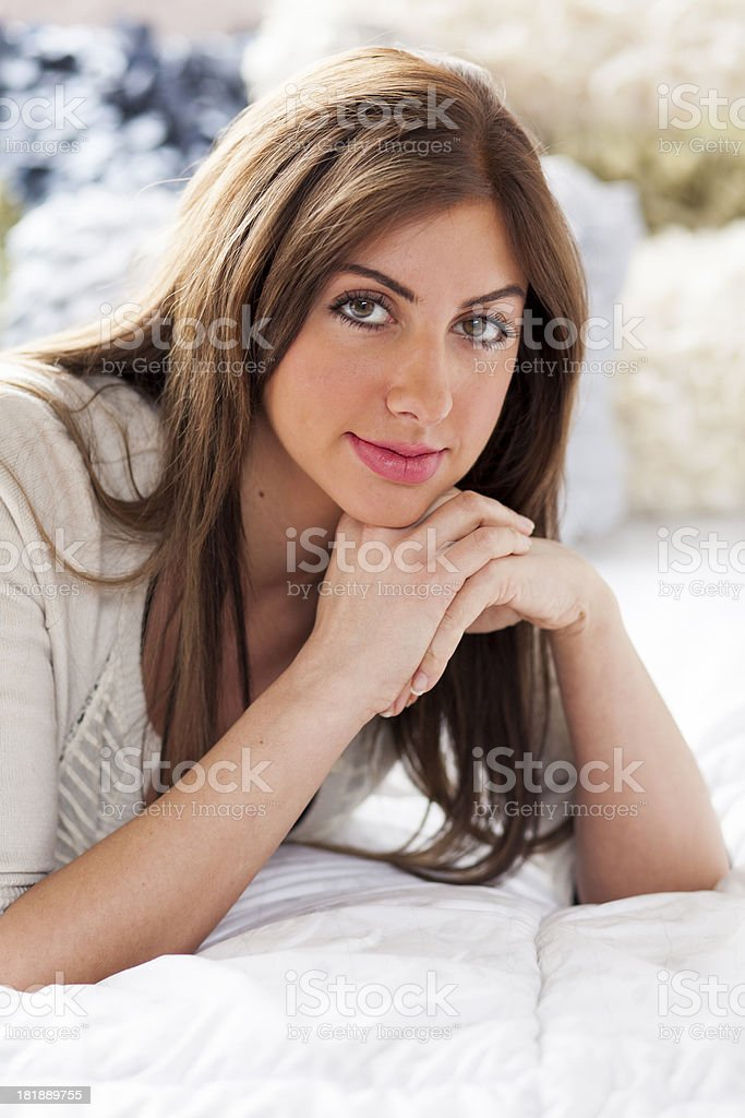 beautiful in bed royalty-free stock photo