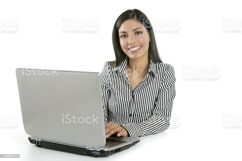 Beautiful indian brunette businesswoman laptop royalty-free stock photo