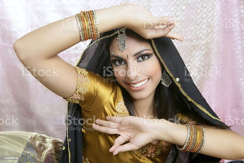 Beautiful indian brunette traditional fashion style stock photo