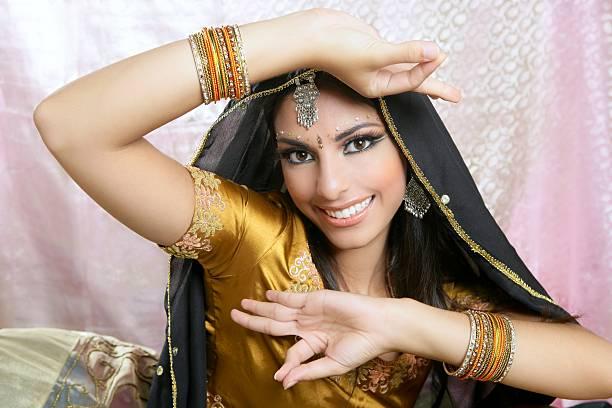 Beautiful indian brunette traditional fashion style stock photo