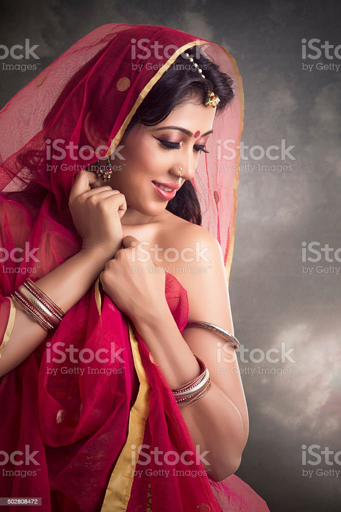 Beautiful Indian girl in traditional Indian sari stock photo