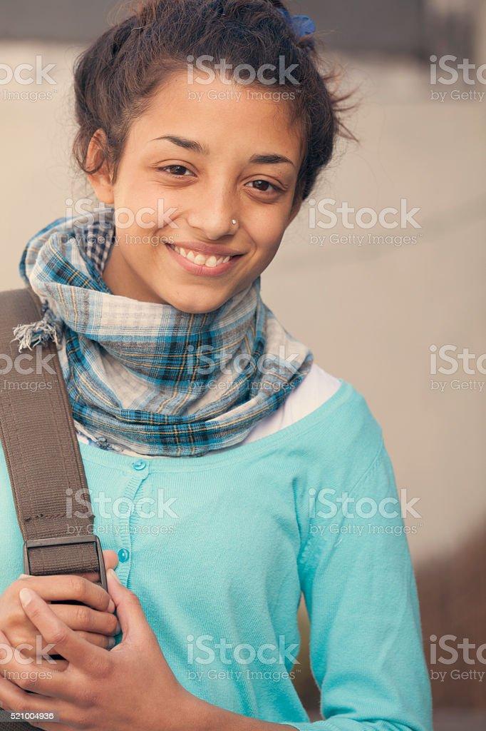 Beautiful indian girl smiling stock photo