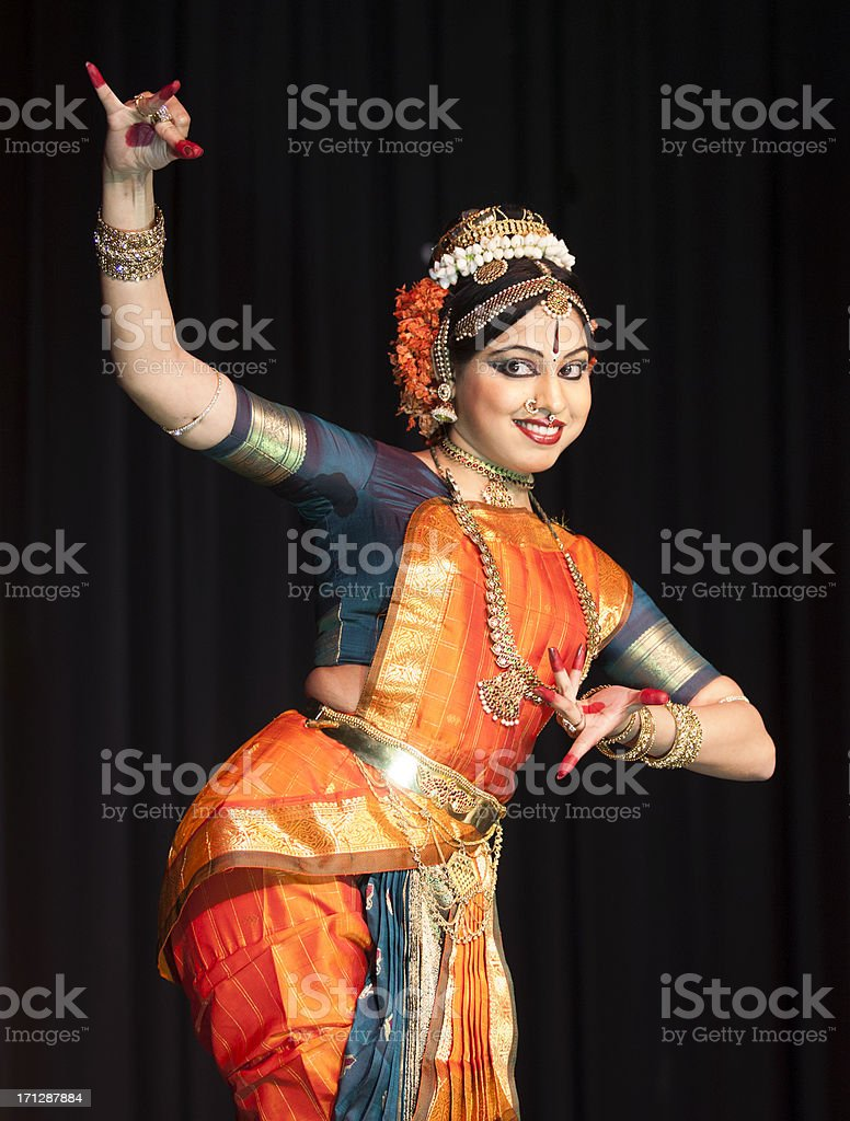 Beautiful Indian Kuchipudi Dancer Performing On Stage stock photo