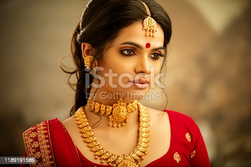 Beautiful Indian traditional woman portrait on white.