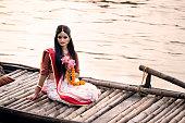 istock Beautiful Indian Woman dressed as Hindu Goddess. 1272603587
