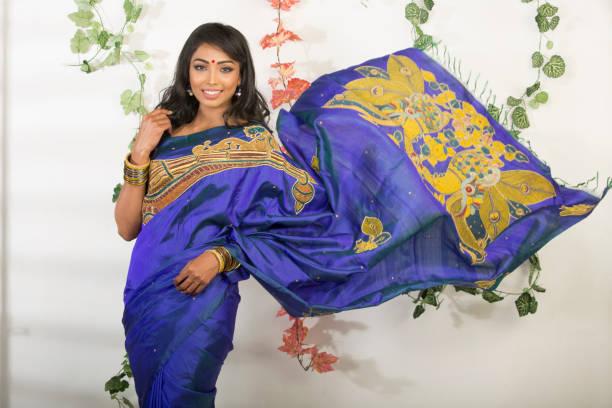 beautiful Indian woman in saree stock photo