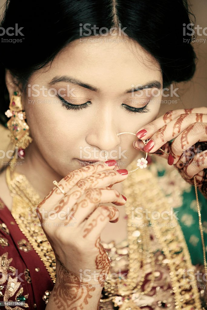 Beautiful Indian Woman With Gold Nose Ring Stock Photo Download