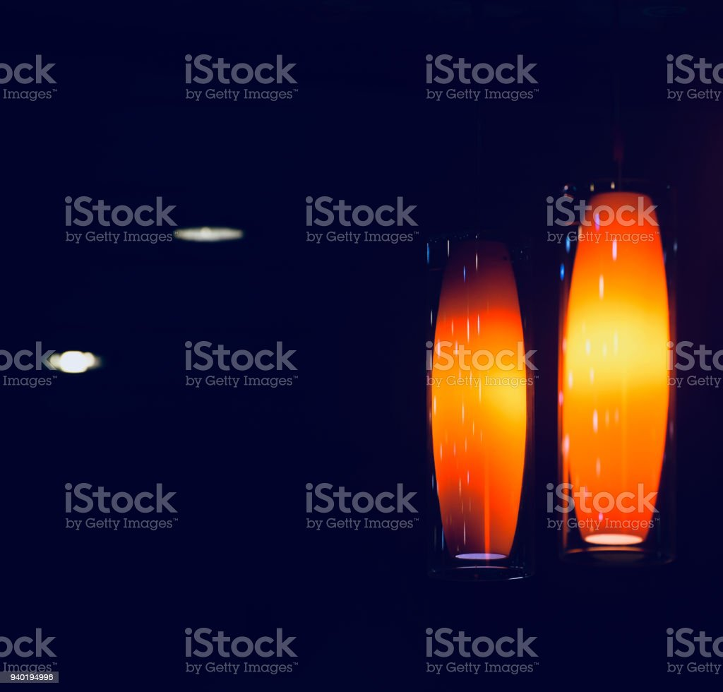 Beautiful interior decoration lights of a restaurant stock photo