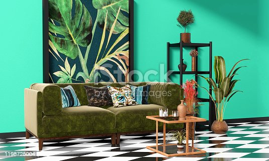Beautiful Interior design with a jungle printed feature wall, black and white checker tiles and decorative tropical plants