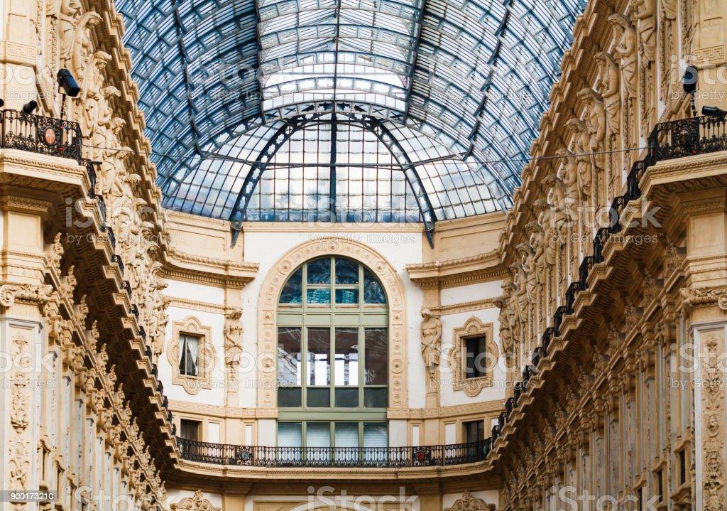 Beautiful interior in Vittorio Emanuele II in Milan, Italy stock photo
