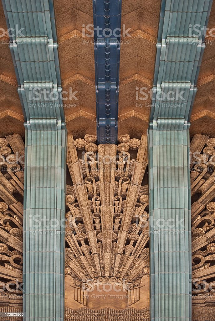 A beautiful interior of an art deco building royalty-free stock photo