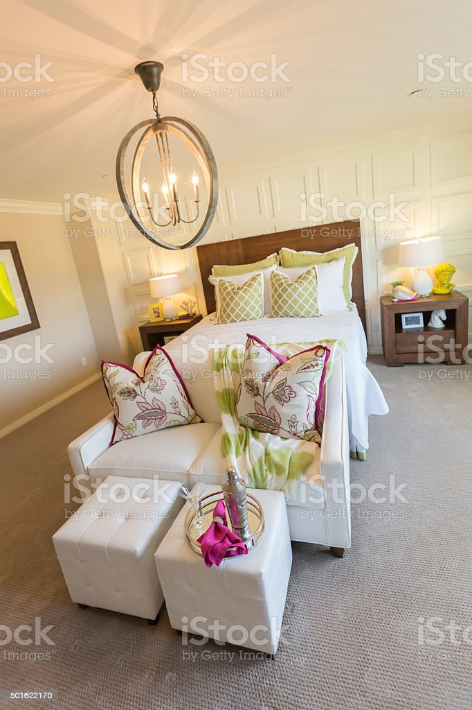 Beautiful Inviting Bedroom Interior stock photo