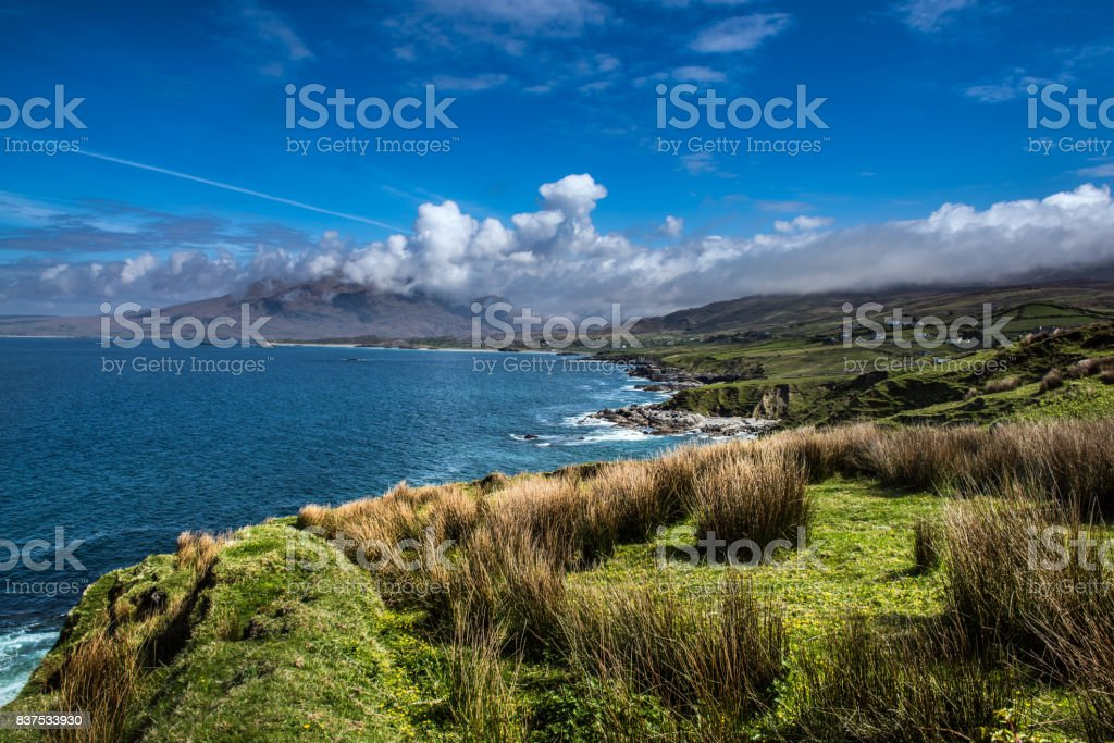 Beautiful Irish coastline on a sunny day with blue skies near Galway stock photo