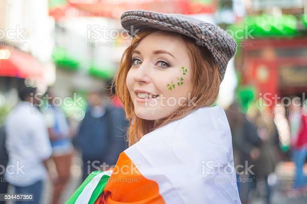 Beautiful Irish Girl On St Patricks Day Dublin Ireland Stock Photo - Download Image Now