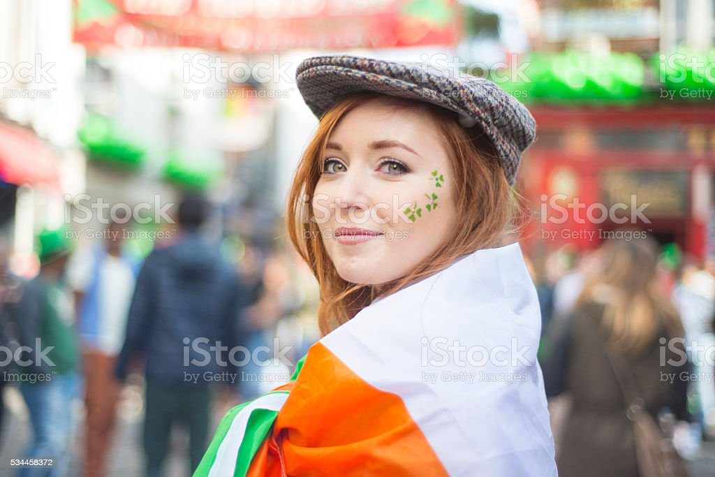 Beautiful Irish girl on St. Patricks Day, Dublin, Ireland. stock photo