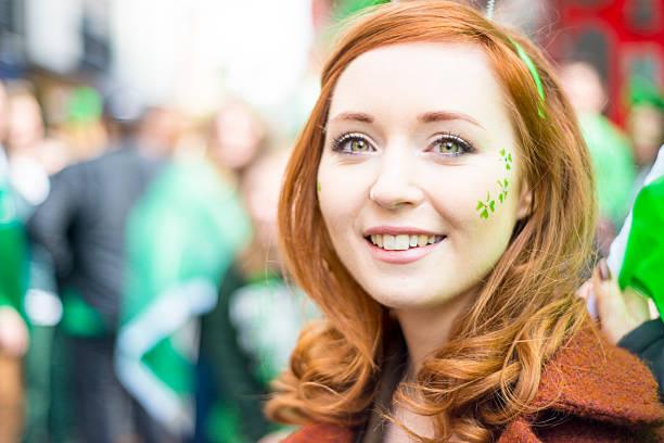 beautiful irish girl on st. patricks day, dublin, ireland. - happy st. patricks day stock photos and pictures