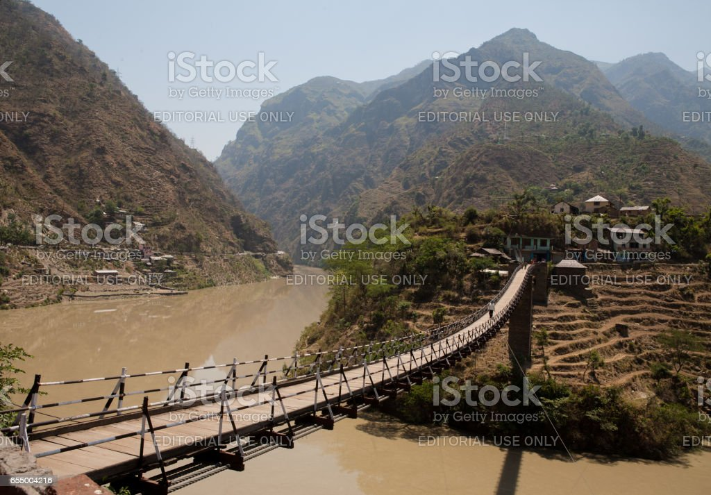 Beautiful island and Bridge On the way to Manali, district Kullu in Himachal Pradesh, India. stock photo
