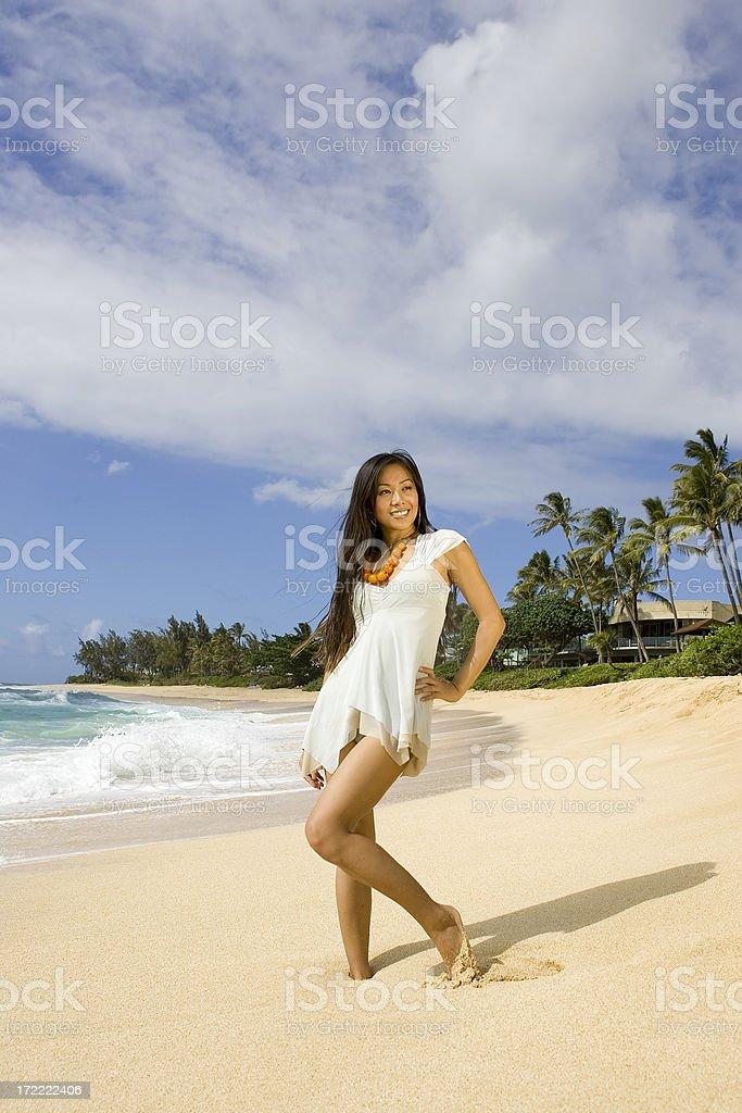 Beautiful Island Girl on Tropical Beach royalty-free stock photo