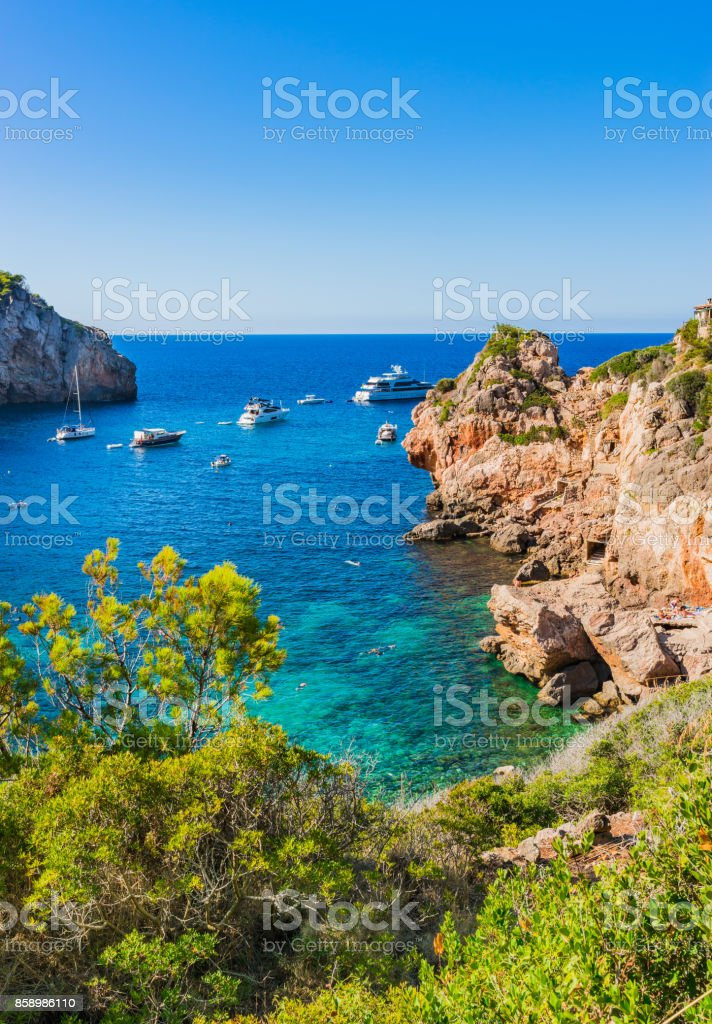 Beautiful island scenery, Majorca Spain, bay beach of Cala Deia stock photo