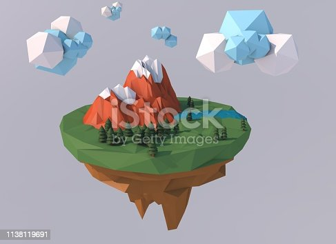 istock Beautiful island with clouds. Low poly 3D render. 1138119691