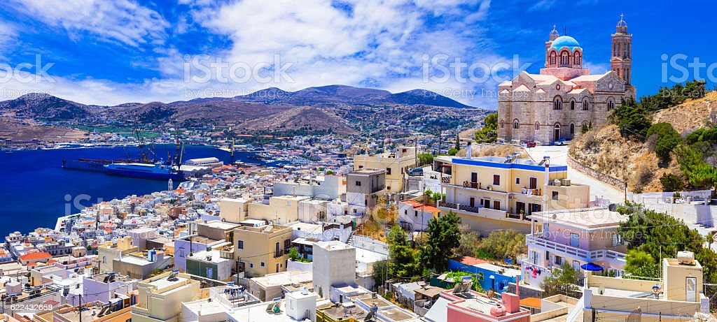 Beautiful islands of Greece - Syros, Cyclades stock photo