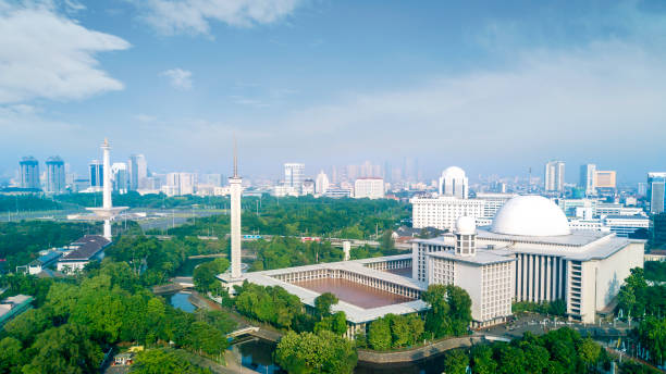 Beautiful Istiqlal mosque in the downtown stock photo