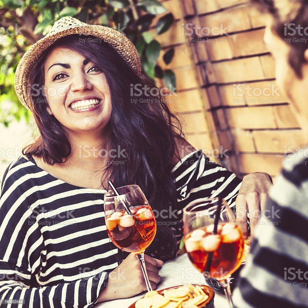 Beautiful Italian Teenager with Alcoholic Drink royalty-free stock photo