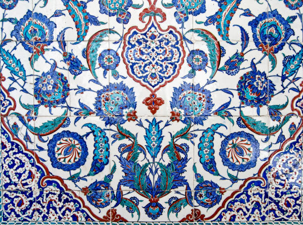 Beautiful Iznik tiles on tomb of Sultan Murad III, Istanbul stock photo