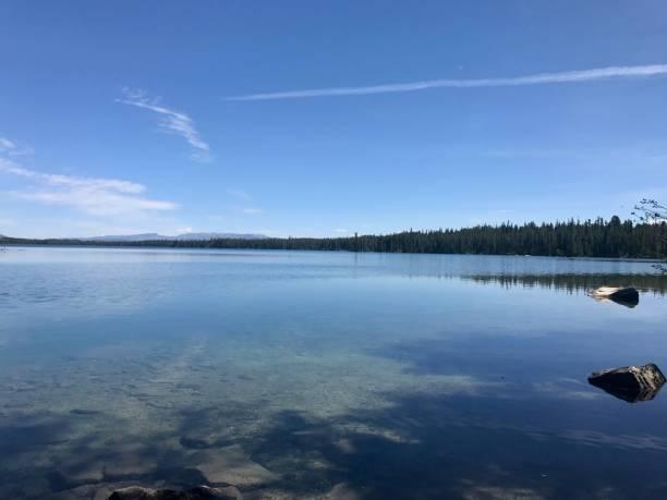 Beautiful Jackson Lake in Grand Teton National Park stock photo