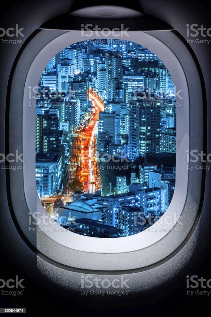 Beautiful japan cityscape from aircraft window Beautiful japan cityscape from aircraft window stock photo