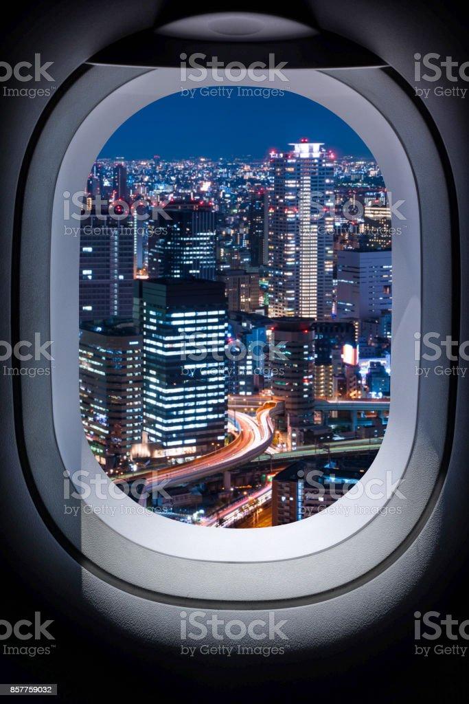 Beautiful japan cityscape from aircraft window stock photo