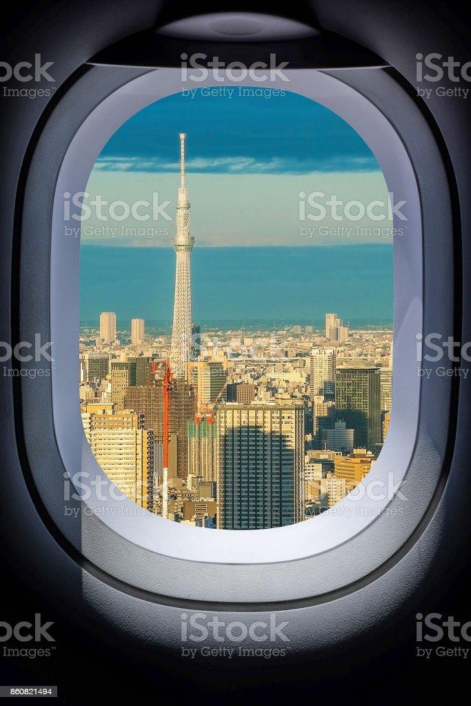 Beautiful Japan Tokyo cityscape from aircraft window Beautiful Japan Tokyo cityscape from aircraft window stock photo