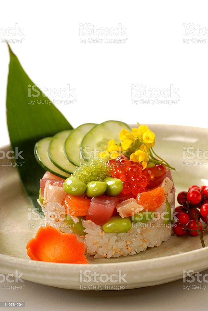 Beautiful Japanese appetizer of rice and tuna mold with vegetables royalty-free stock photo