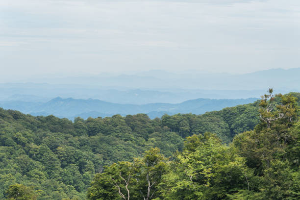 Beautiful Japanese natural scenery view of the Nagano mountains range with Iiyama mountains in the foreground stock photo