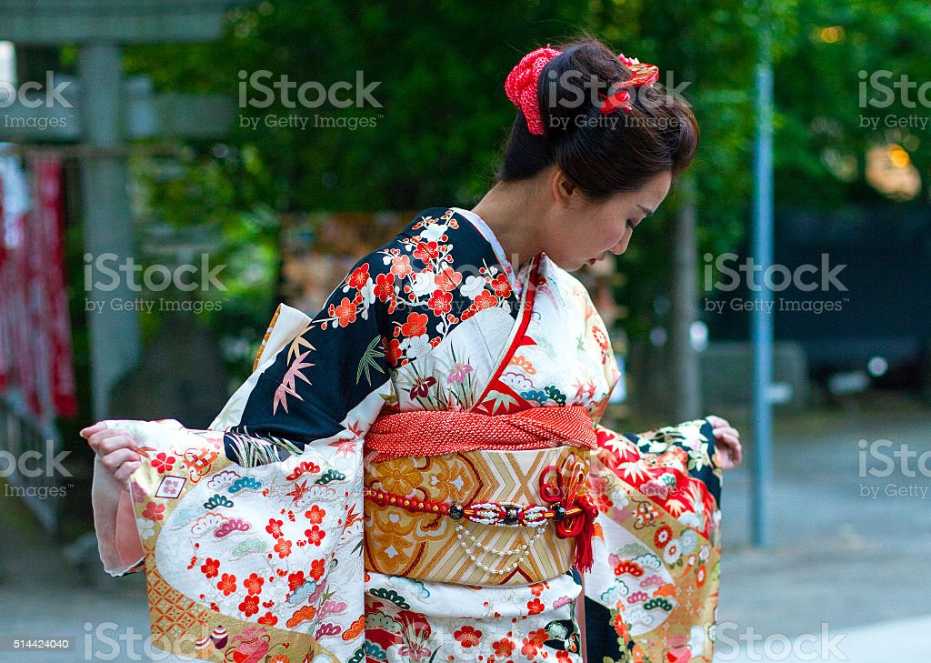Beautiful japanese woman with kimono in Tokyo, Japan stock photo