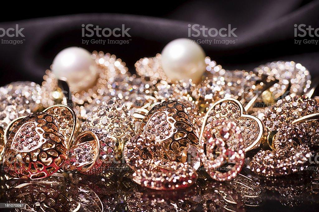 Beautiful jewelry decorations on black background royalty-free stock photo